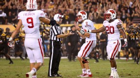 Joel Stave reacts to the referee