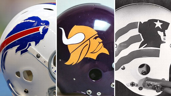 Helmets of the Buffalo Bills, Minnesota Vikings and New England Patriots