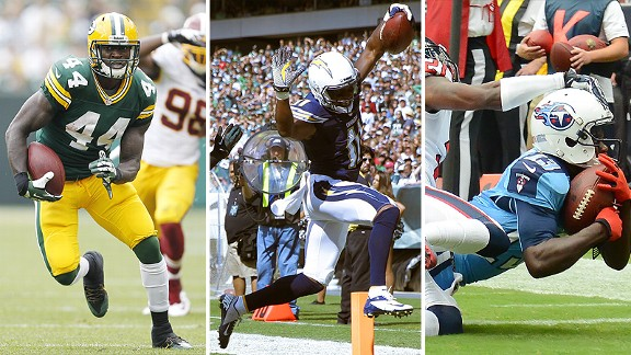 James Starks, Eddie Royal, and Kendall Wright