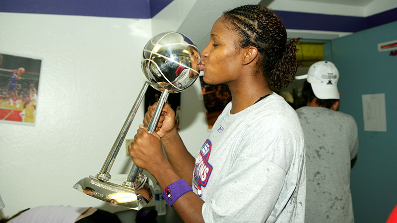 Rebekkah Brunson, who won her first WNBA title in her second pro season in Sacramento, is averaging 10.6 points and 8.9 rebounds this year for Minnesota.