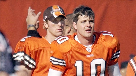 Kelly Holcomb, right, and Tim Couch of the Cleveland Browns