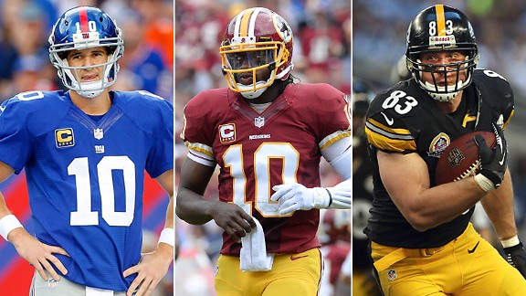 Eli Manning, Robert Griffin III & Heath Miller