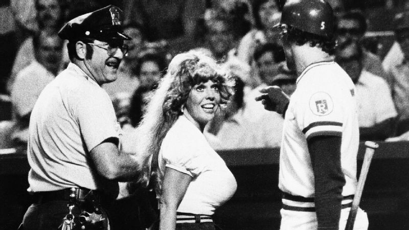 Morganna Roberts, better known as the Kissing Bandit, gained national fame for rushing baseball fields and basketball courts to kiss players, including Nolan Ryan, Pete Rose, Cal Ripken Jr. and Kareem Abdul-Jabbar. During her three-decade reign of smooching, Roberts became somewhat of a celebrity, even prompting athletes to welcome or expect her presence. While the players were often amused, local law enforcement usually did not feel the same.