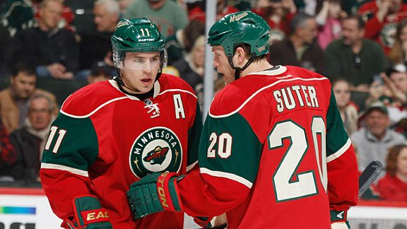 Zach Parise #11 and Ryan Suter #20 of the Minnesota Wild