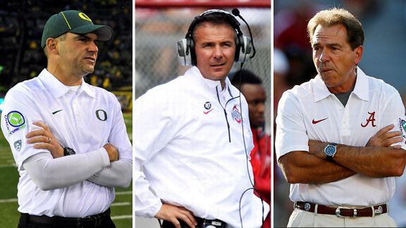 Mark Helfrich, Urban Meyer, Nick Saban