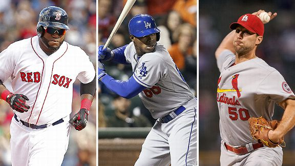 David Ortiz, Yasiel Puig, and Adam Wainwright