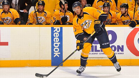 Defenceman Seth Jones #3 of the Nashville Predators