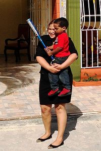 Jackelin Castro and her young son