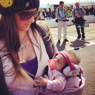 Lyn-z Adams Hawkins Pastrana carries soundproof earmuffs for daughter Addy when the family travels to races.