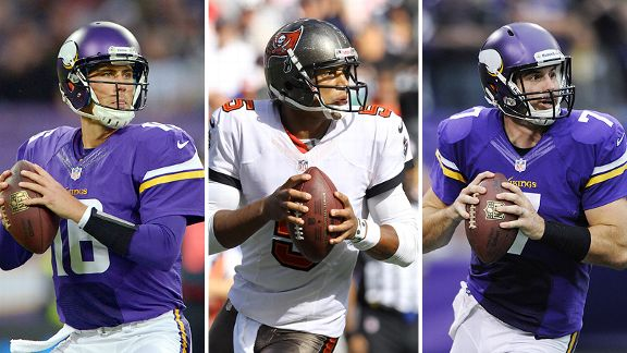 Matt Cassel, Josh Freeman and Christian Ponder