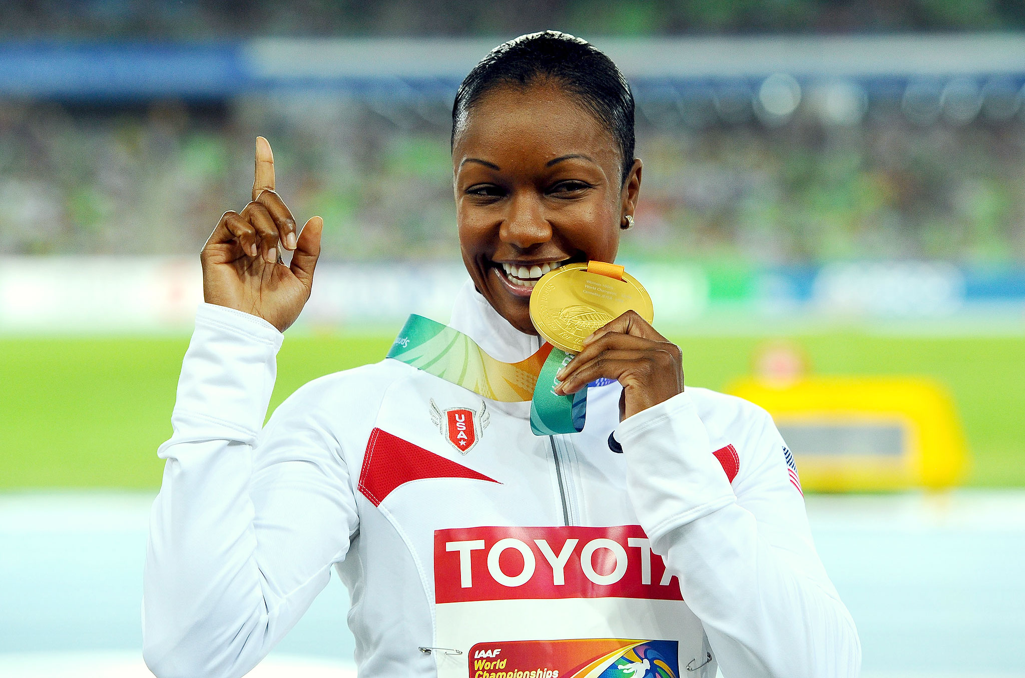 Carmelita Jeter struck gold twice at the 2011 world championships in South Korea, winning the 100 meters as well as the 4x100 relay.