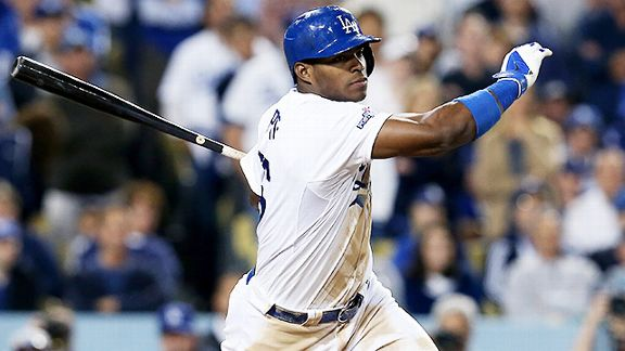 Los Angeles Dodgers outfielder Yasiel Puig