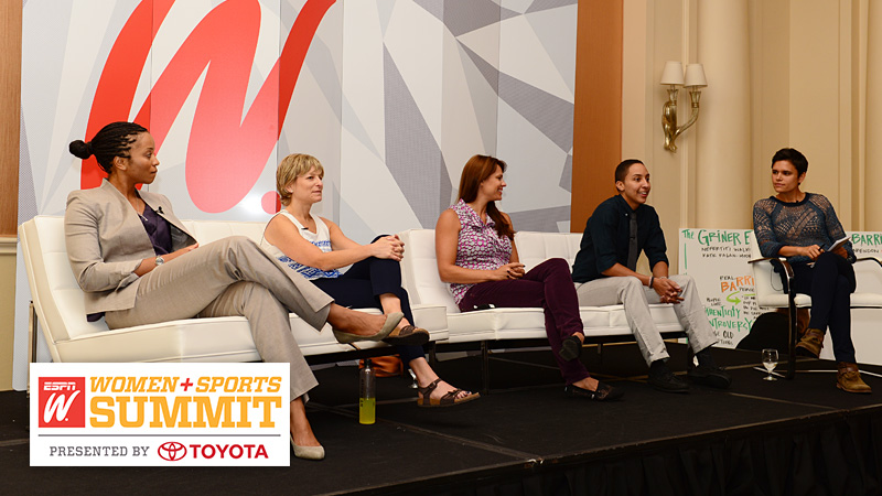 Nefertiti Walker, Hilary Shaev, Jessica Mendoza and Layshia Clarendon joined moderator Kate Fagan for Thursday's Griner Effect panel.