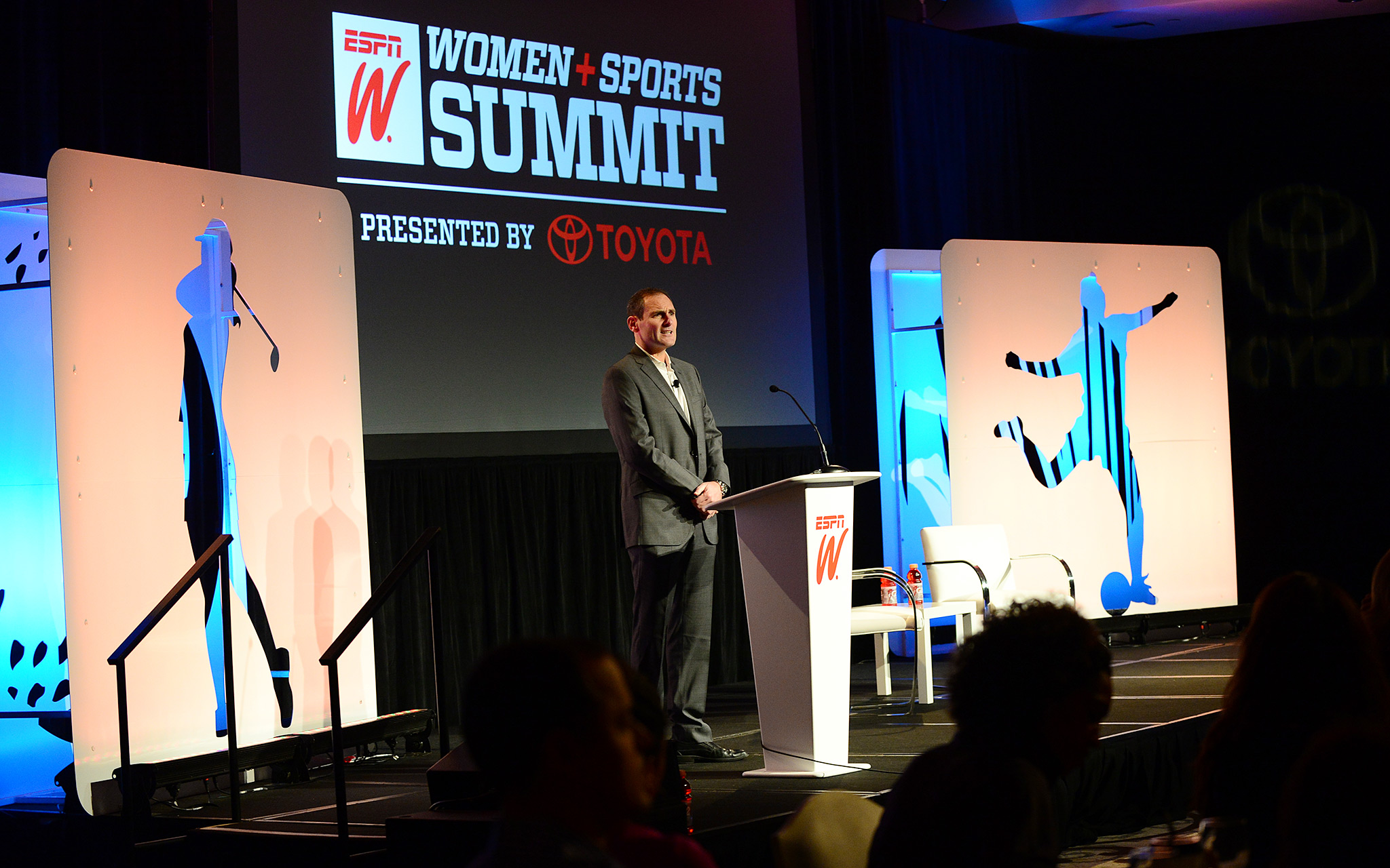 Pac-12 Commissioner Larry Scott's Power Talk challenged those in the audience to think about what more they could do to help provide more exposure for women's athletics.
