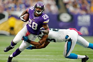 Vikings star Adrian Peterson rushed for 62 yards just two days after the death of his 2-year-old son.