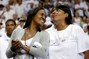 Gloria James, left, is dating rapper Lambo, who called her famous son LeBron his role model.