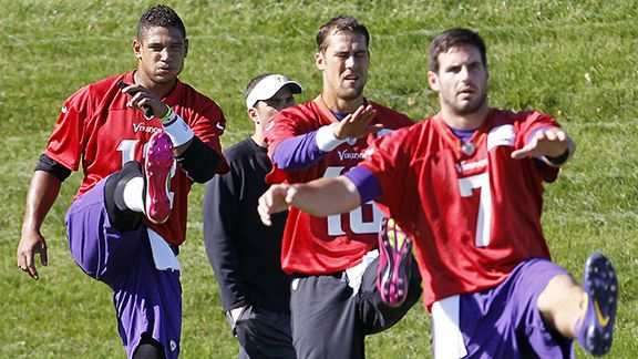Minnesota Vikings quarterbacks Josh Freeman, Matt Cassell, and Christian Ponder