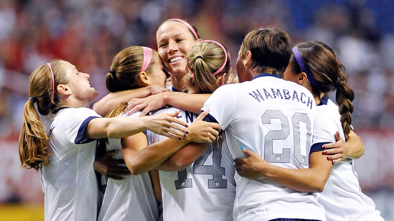 The U.S. women's national team celebrated early, and often, in Sunday's 4-0 victory against Australia.