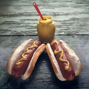 Mustard and hot dogs