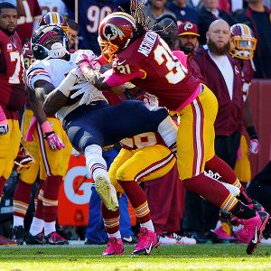 Washington's Brandon Meriweather served a one-game suspension for two illegal hits against the Bears, including this one  against Alshon Jeffery.