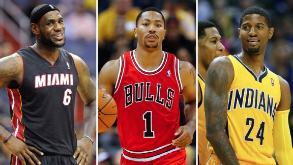 LeBron James, Derrick Rose, and Paul George