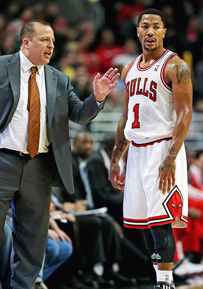 Tom Thibodeau and Derrick Rose