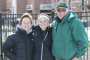 Attending college only two miles from home lets Katie Vanden Avond stay close to her parents, Lisa and Keith.