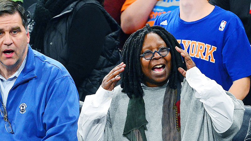 In real life, Whoopi Goldberg often takes a seat in the Knicks' stands, not on their bench.