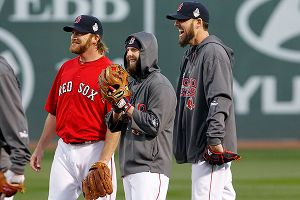 Ryan Dempster, Dustin Pedroia and John Lackey