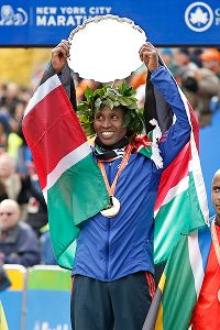 Geoffrey Mutai of Kenya successfully defended his New York City Marathon title Sunday.