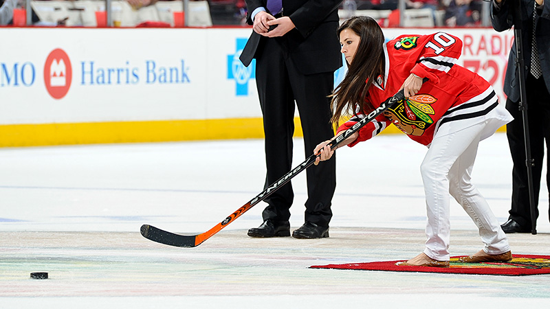 A contestant in the Chicago Blackhawks Shoot the Puck contest during Game 1 of the Stanley Cup playoffs against Minnesota in April, Danica Patrick put the puck in the net on her first shot.