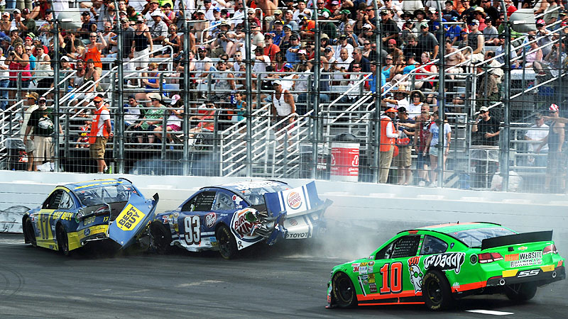 Danica Patrick and Ricky Stenhouse Jr. were involved in their second on-track tussle of the season, this time initiated by Patrick as she lost control on a restart in New Hampshire in July.