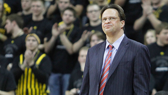 Head coach Tom Crean of the Indiana Hoosiers watches the action during the first half against the Iowa Hawkeyes on December 31, 2012 at Carver-Hawkeye Arena in Iowa City, Iowa. Indiana won 69-65.