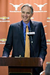 New Texas athletic director Steve Patterson refused to discuss the future of football coach Mack Brown and basketball coach Rick Barnes.
