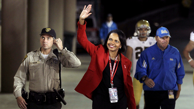 Condoleezza Rice, the lone woman on the College Football Playoff selection committee, formerly oversaw the athletic department at Stanford.
