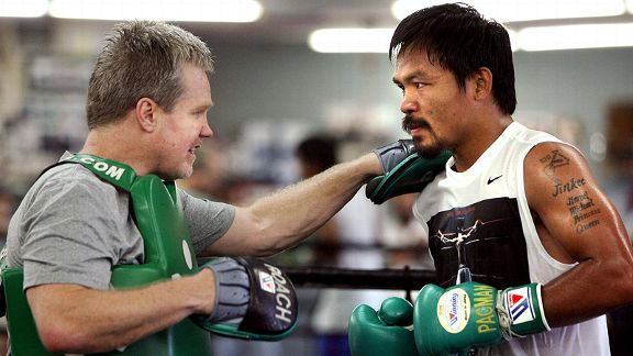 Freddie Roach, here with Manny Pacquiao, is a five-time trainer of the year.