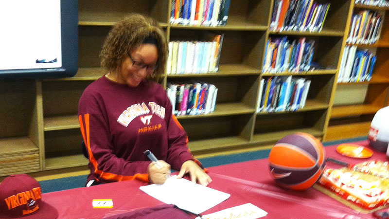 Brielle Blaire, the No. 72 prospect in the espnW HoopGurlz Top 100, signed a national letter of intent on Wednesday to Virginia Tech.  Brielle is a multi-talented forward who is extremely skilled for her size, coach Dennis Wolff said. I(Photo Courtesy Virgina Tech athletics)/I