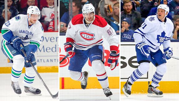 Alexander Edler, Max Pacioretty and David Clarkson