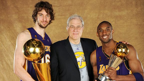 Pau Gasol, Phil Jackson and Kobe Bryant