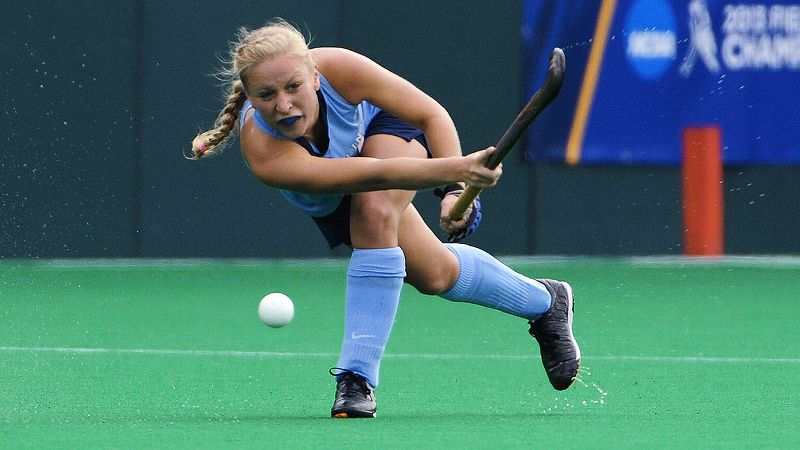Janne Grove, 23, is the oldest player on her team but the youngest student in her classes at the Kenan-Flagler School of Business.