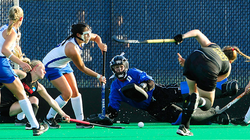 Duke's Lauren Blazing had 12 saves in the semifinal against Maryland on Friday.