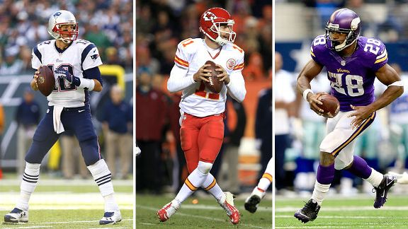 Tom Brady, Alex Smith, Adrian Peterson