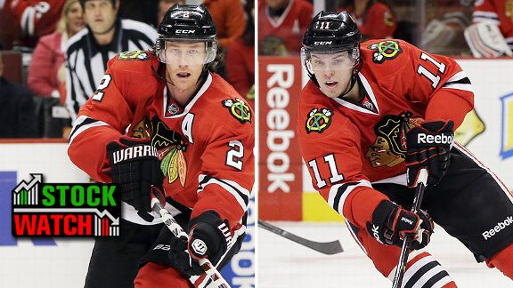 Duncan Keith and Jeremy Morin