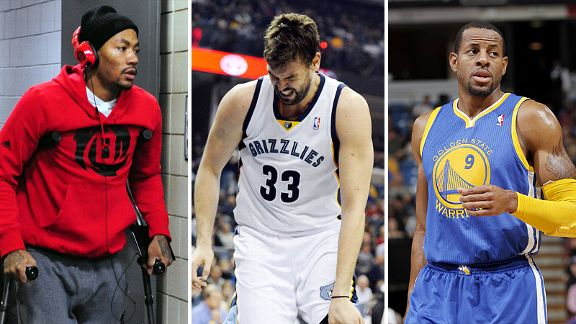 Derrick Rose, Marc Gasol and Andre Iguodala