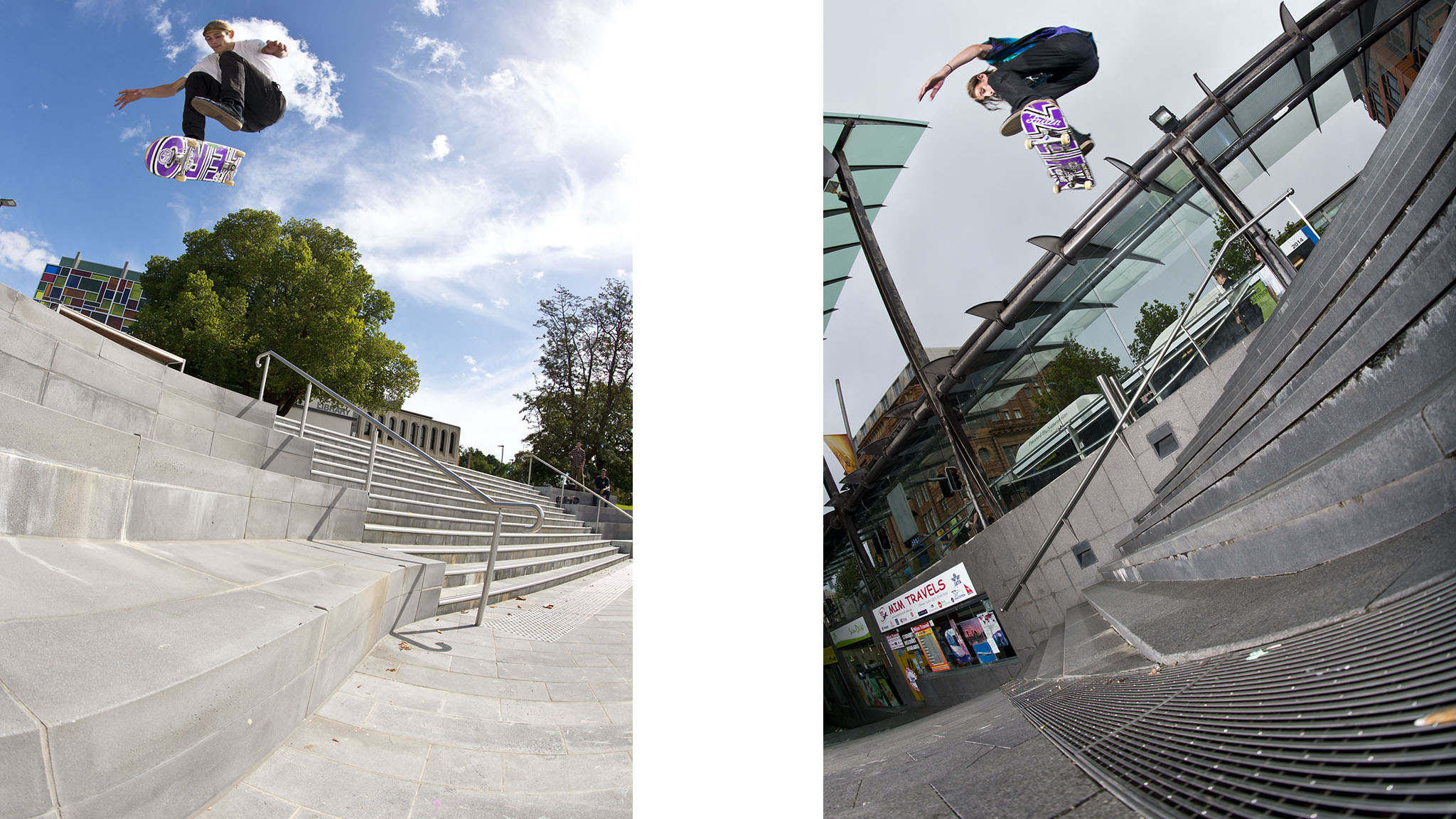 Varial heelflip (left) and frontside heelflip (right).