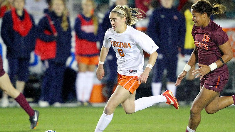 Hermann Trophy candidate Morgan Brian, outrunning Virginia Tech's Candace Cephers earlier this season, has continued to carry the scoring load for Virginia during the NCAA tournament.