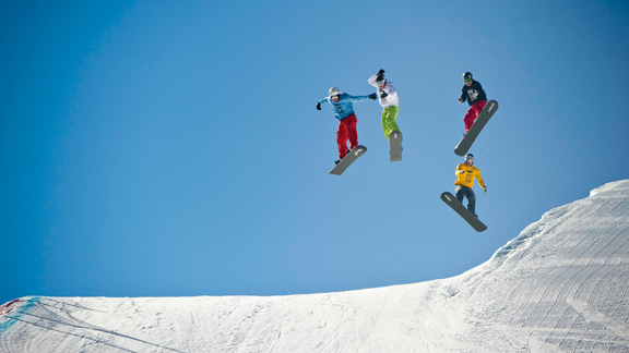 Nick Baumgartner (in white) leads during Snowboarder X finals at X Games Aspen 2011. After a year hiatus, the event returns to Aspen in January.