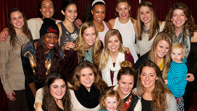 The USC womens volleyball team is joined by associate head coach Tim Nollans daughters, Avery, center, and Emma, for Thanksgiving at the Galen Center.