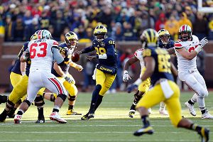 Quarterback Devin Gardner #98 of the Michigan Wolverines
