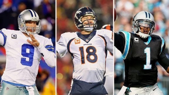 Tony Romo, Peyton Manning, and Cam Newton
